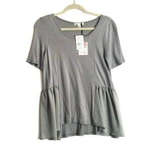 Grey Peplum Style Blouse